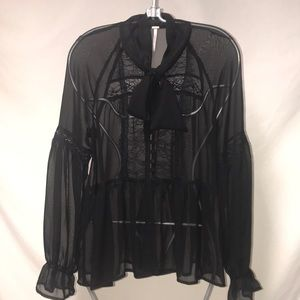 FREE PEOPLE SHEER BLOUSE SMALL
